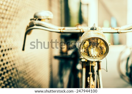 Old antique vintage bicycle - vintage effect style pictures , selective focus point