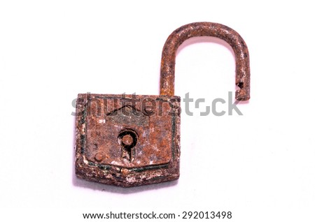 Old Antique Vintage Padlock on a White Background - stock photo