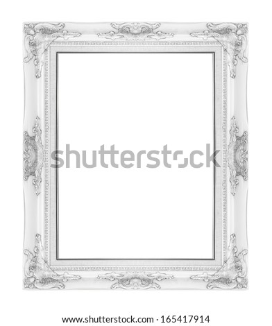old antique vintage  picture frames. Isolated on white background - stock photo