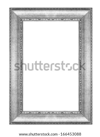 old antique vintage silver frames. Isolated on white background - stock photo