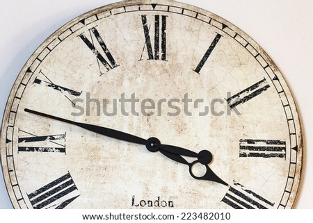 Old antique wall clock, closeup - stock photo