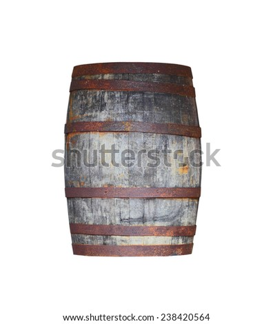 Old antique wooden barrel with rusty iron rings isolated on white background - stock photo