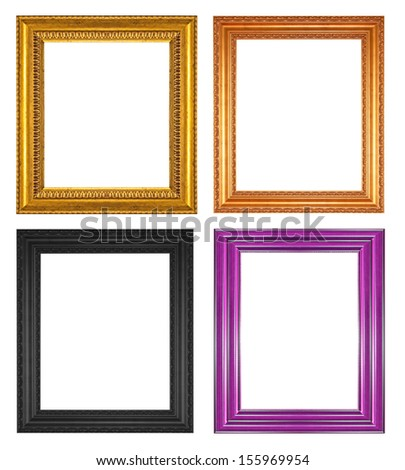 Old antique wooden frame isolated on white background.