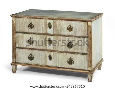 old antique wooden painted chest of drawers European, french early isolated - stock photo
