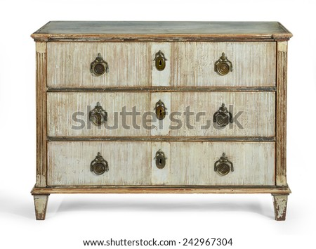 old antique wooden painted chest of drawers European, french early 1900's isolated - stock photo
