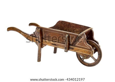 Old antique wooden painted hand wheel barrow
