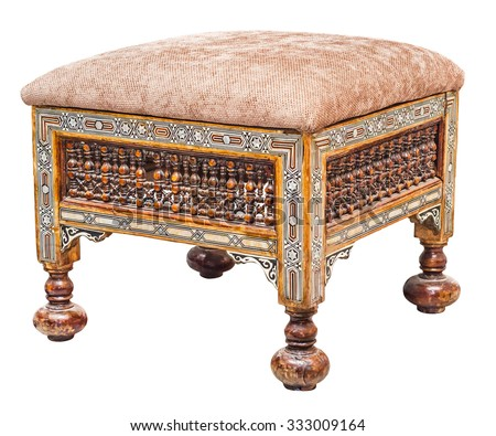 Old Antique Wooden Stool, Isolated On White Background. File Contains A  Clipping Path.
