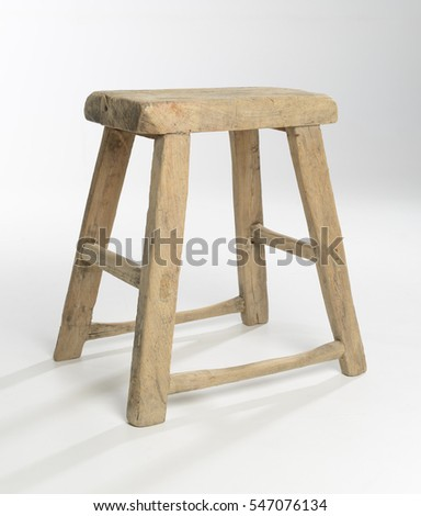 Old antique wooden stool on white background : wooden white stool - islam-shia.org