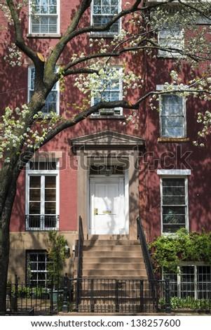 Old apartment building in Greenwich Village, Manhattan, New York City - stock photo