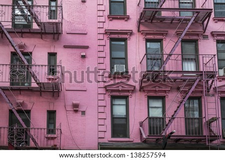 Old apartment building, Manhattan, New York City - stock photo