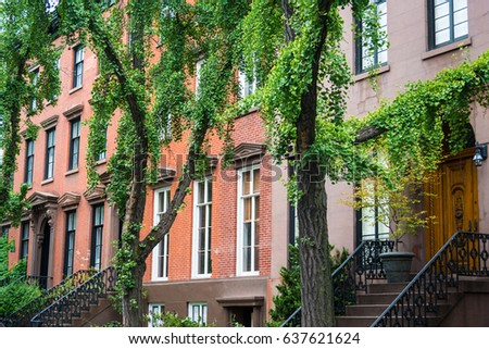 Old Apartment Buildings In Greenwich Village New York City