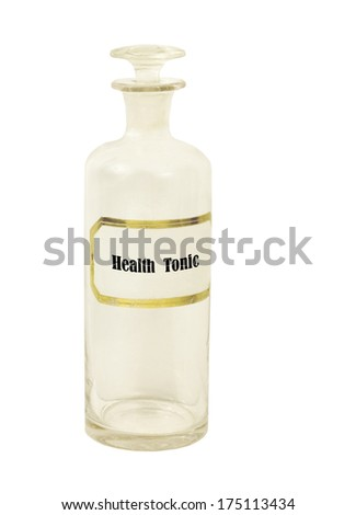 old apothecary bottle with health tonic on a white background - stock photo