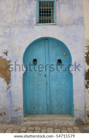 old arabic style blue door