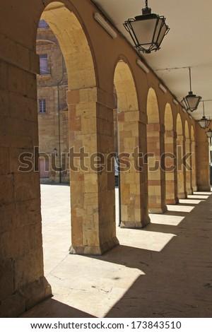 old arcades housing - stock photo
