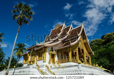 Old Architecture in Ancient Buddhist Temple in Luang Prabang, Laos, Southeast Asia, The world heritage Area.