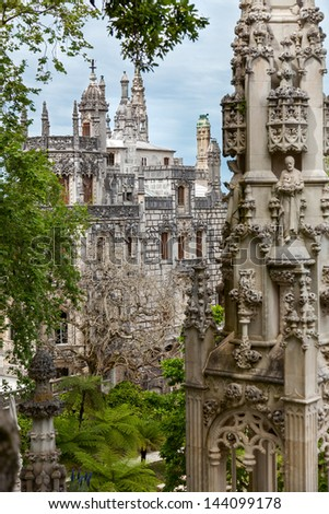 Old Architecture in Europe / Quinta da Regaleira Palace in Sintra, Lisbon, Portugal - stock photo