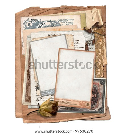 Old archive with letters, photos, money on the white isolated background