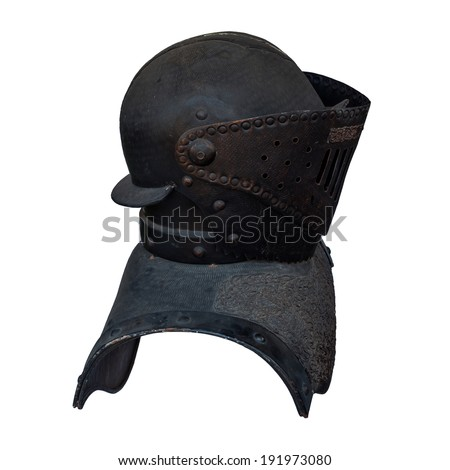 Old armor of black metal of knight isolated on white background