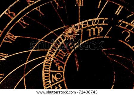 Old astronomical clock in Prague, Czech Republic - stock photo
