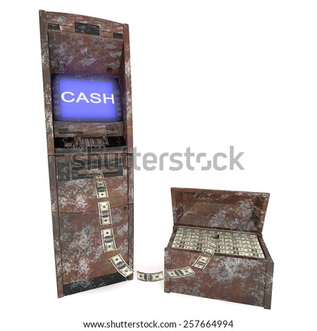 old atm cash machine with old Casket - stock photo