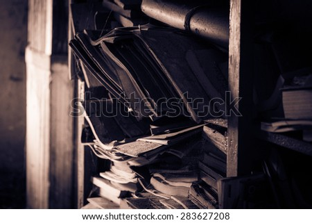 Old attic library - stock photo
