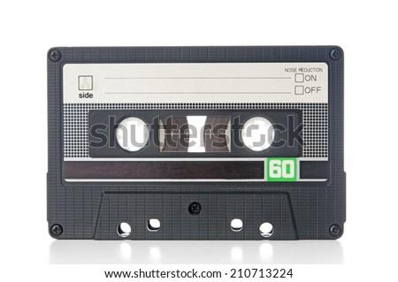 Old audio cassette closeup - stock photo