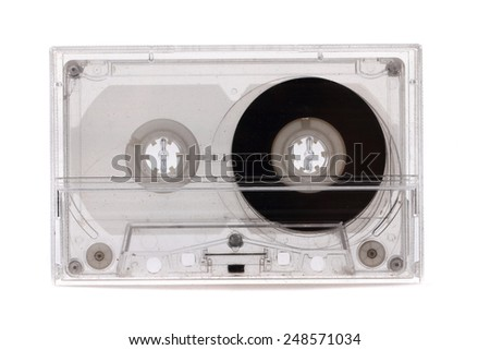 old audio cassette isolated on the white background - stock photo