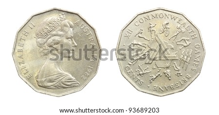 old australia 50 cents coin - stock photo