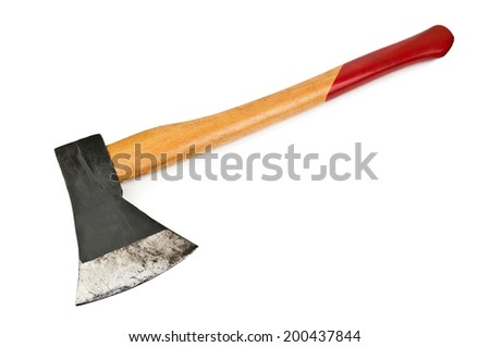 old ax on white background - stock photo