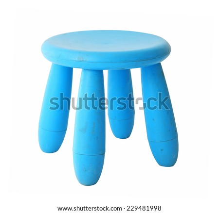 Old baby blue plastic stool isolated on white background