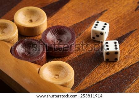 Old backgammon game  - stock photo