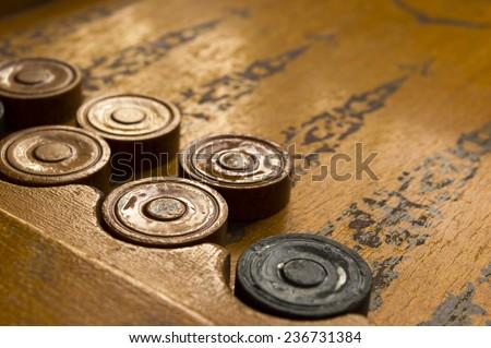 Old backgammon game vintage photo - stock photo