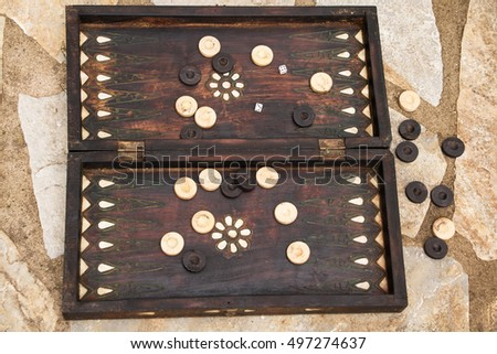 Old backgammon with beautiful inlays