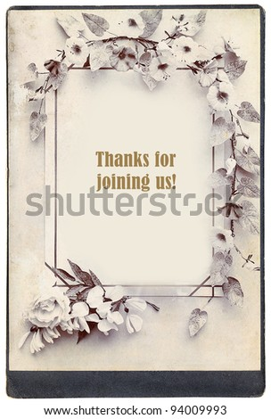 Old background and inscription Thanks for joining us - stock photo