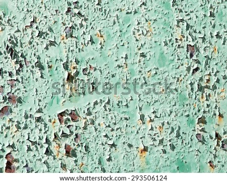 old background of rusty metal painted green - stock photo