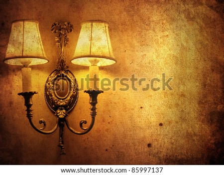 old background with classic wall lamp - stock photo
