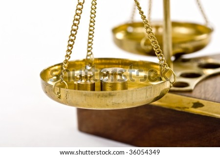 old balance isolated in white background - stock photo