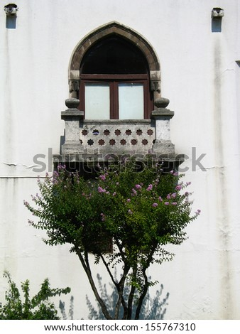 Old balcony in Topkapi Palace in Istanbul - stock photo