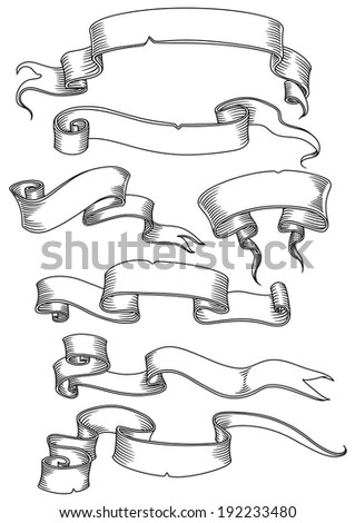 Old banners, ribbons and manuscripts set isolated on white background. Vector version also available in gallery - stock photo