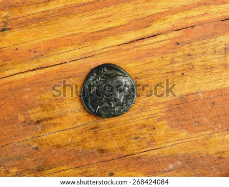 Old barbaric copies  ancient Roman copper coins - stock photo