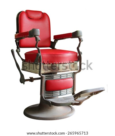old barber chair isolated on white background