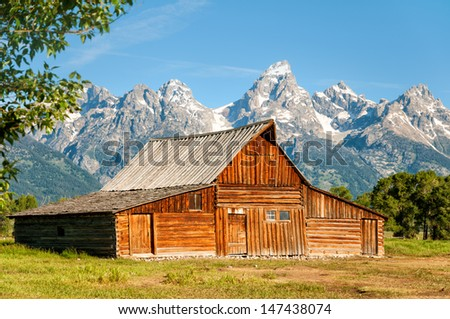 Old barn along Mormon Row in the Teton National Park Wyoming. - stock photo
