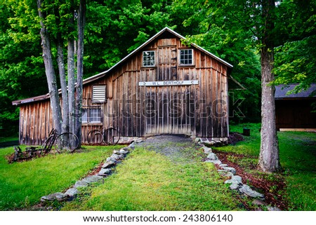 Old barn at Millbrook Village, at Delaware Water Gap National Recreational Area, New Jersey. - stock photo