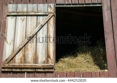 Old barn full of hay. Close up.