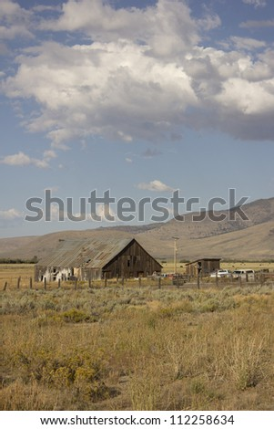 Old barn in a very large field - Loyalton California