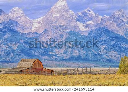 Old barn in Grand Teton National Park - stock photo
