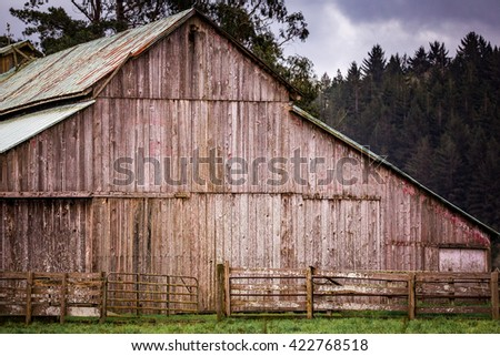Old Barn Landscape - stock photo