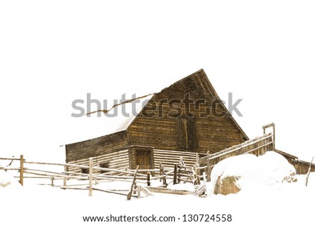 Old barn located in the base village in the town of Steamboat Springs Colorado. - stock photo
