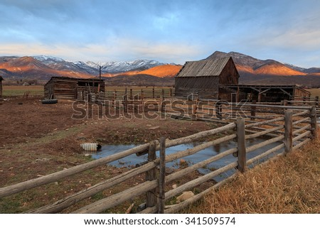 Old barn yard and corral in rural Utah, USA. - stock photo