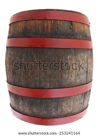 Old barrel isolated on white - stock photo